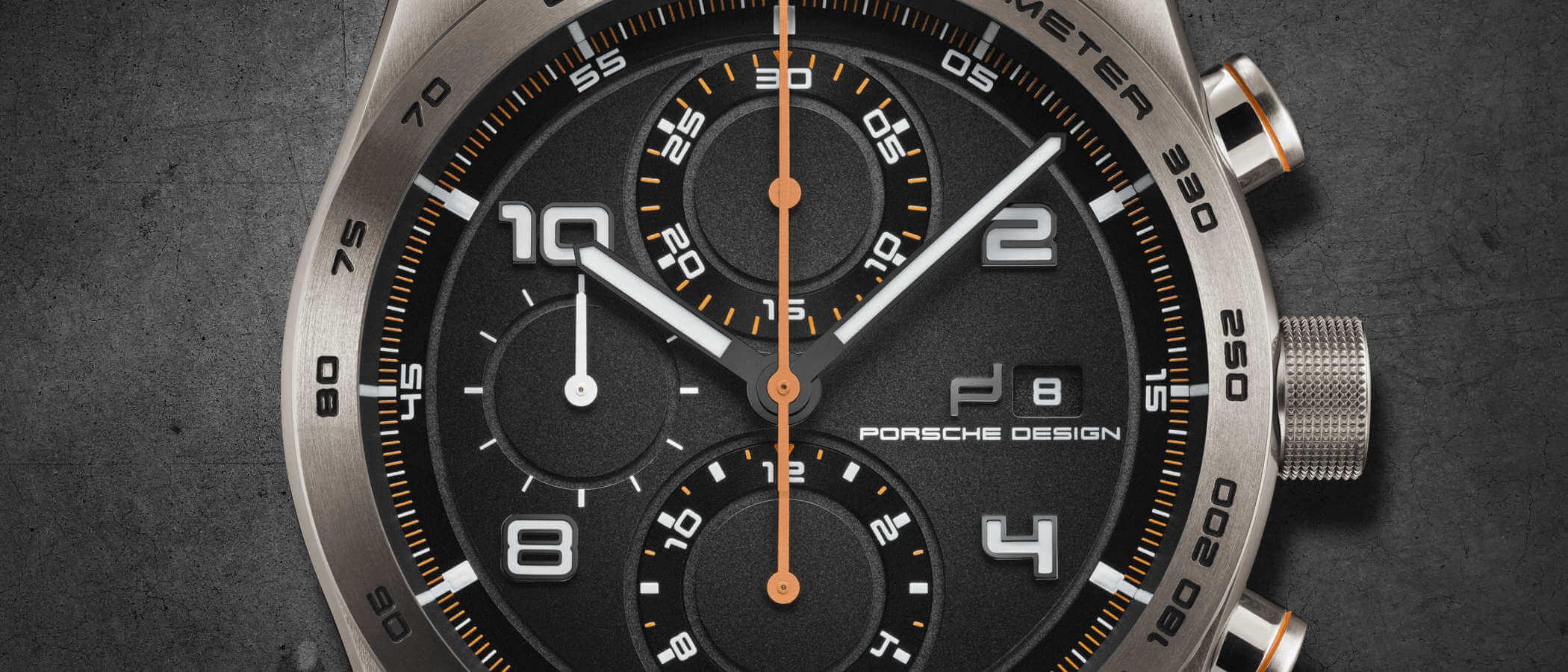 Porsche Design Chronotimer Series 1 Tangerine Detailansicht Zifferblatt