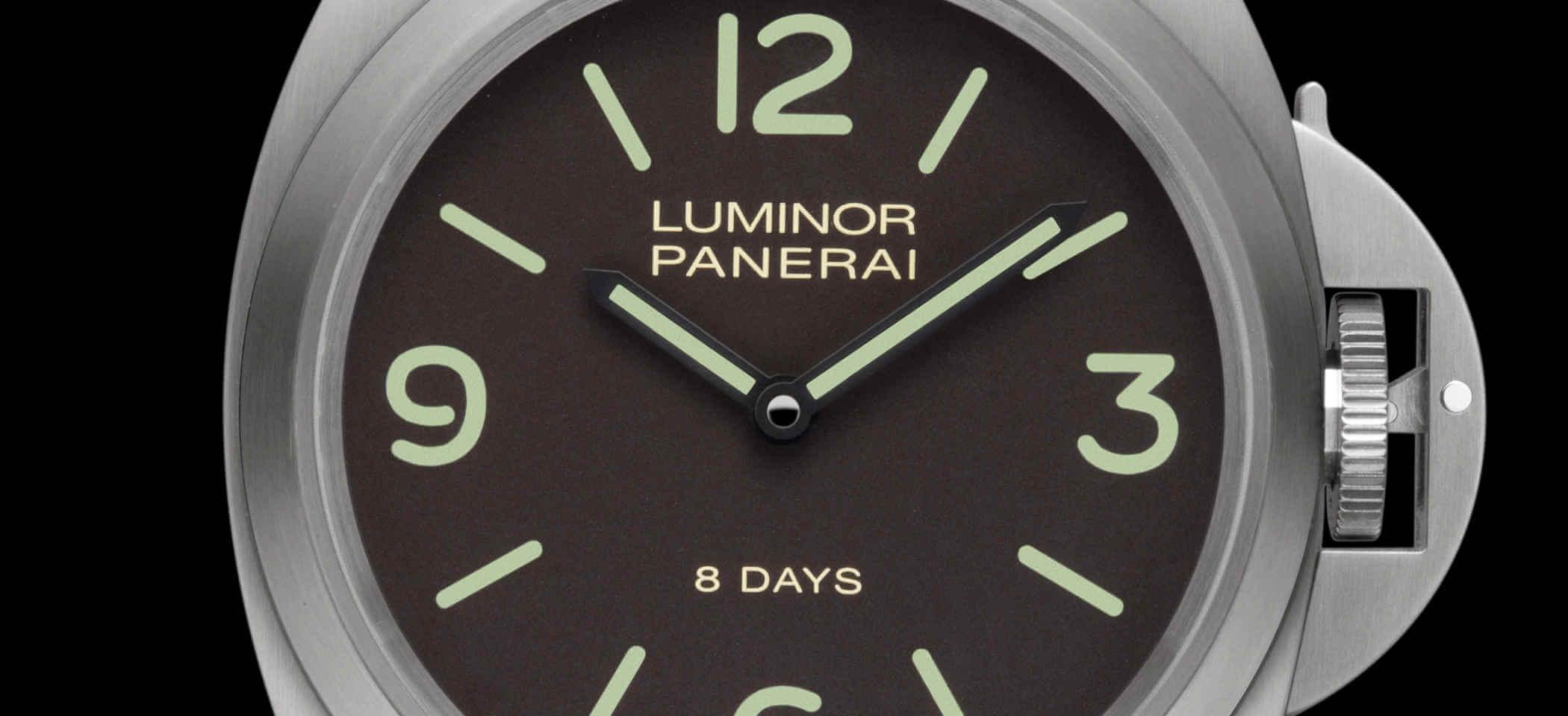 Panerai Luminor Base 8 Days PAM00562 Detailansicht Zifferblatt