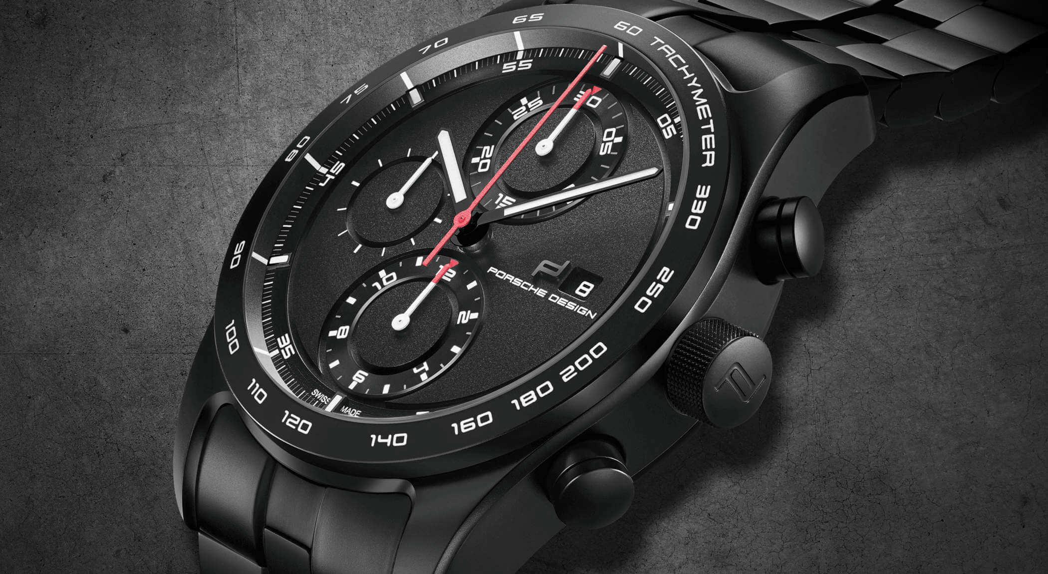 Porsche Design Chronotimer Series 1 Matte Black Detailansicht Gehäuse und Zifferblatt