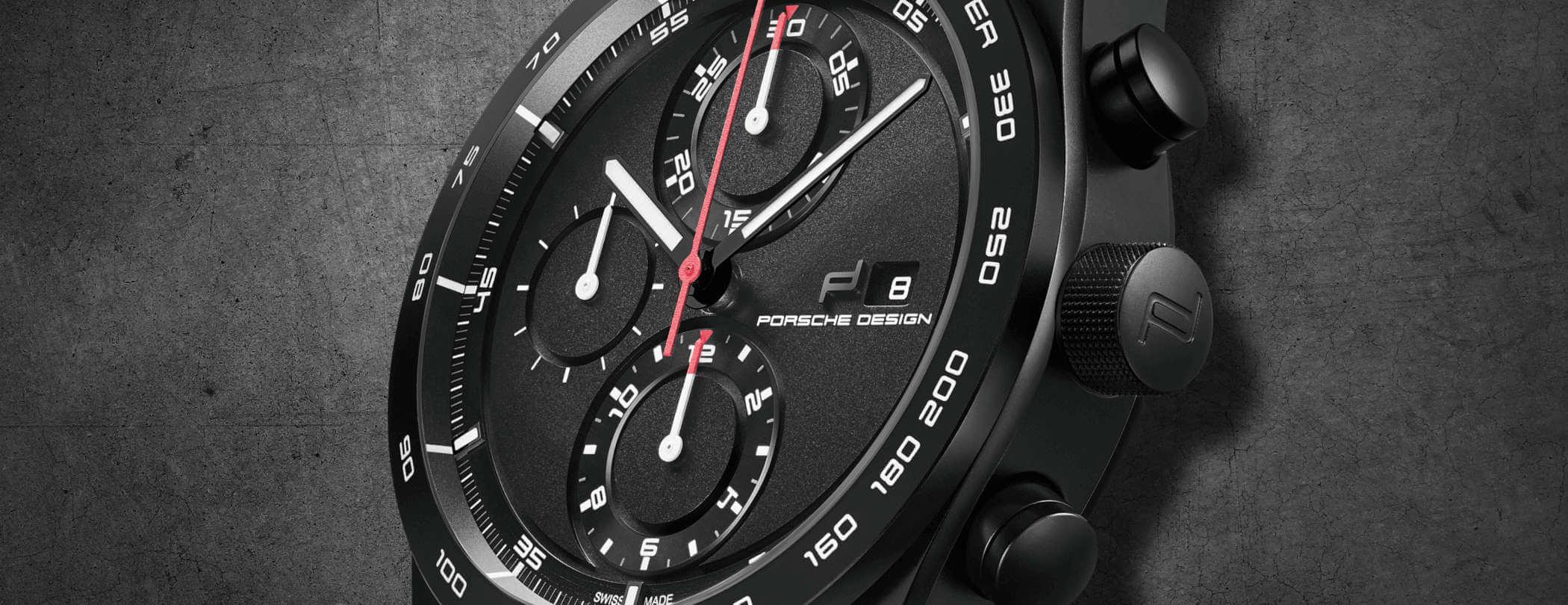 Porsche Design Chronotimer Series 1 Matte Black Detailansicht Zifferblatt