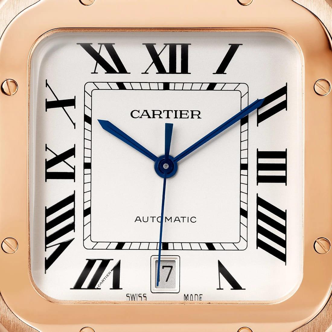 Santos de Cartier Closeup Zifferblatt